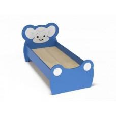 Кровать Одноместная Ясельная для детей Мышонок с рисунком и безопасными бортиками, цвет синий 140х60 см