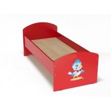 Кровать с рисунком для детей одноместная ясельная с безопасными бортиками, из ЛДСП, цвет красный 140х60 см 62299-19 W48-red