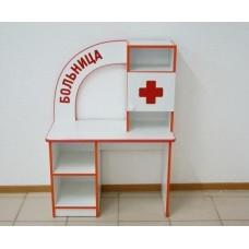 Игровая Стенка Больница-911 для детских садов со столом врача, полками, ящиками и аптечкой 90х35х118 см 61689-19 W337