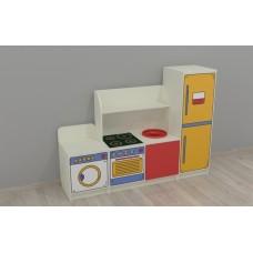 Игровая Стенка-Кухня с зоной для детских садов с зоной для сюжетных игр, с ящиками для игрушек 160х42х120 см 61699-19 W347