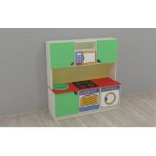 Стенка-Кухня Малютка для детских садов с зоной для приготовления и полками для хранения игрушек 120х43х125 см 61709-19 W357