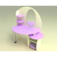 Игровая Стенка Парикмахерская для детских садов: туалетный столик с зеркалом и полками для мелочей 88х54х118см 61719-19 W367