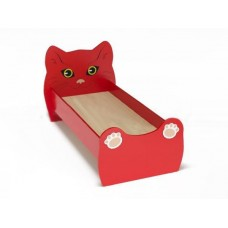 Кровать Одноместная Ясельная для детей Котенок с рисунком и безопасными бортиками, из ЛДСП, красный 140х60 см