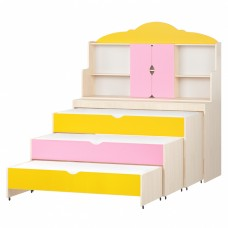 Кровать-тумба-трансформер для детей Трехъярусная с надстройкой с выкатными спальными местами 154x67x144 см 61749-19 W56