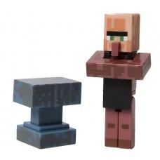 Детская Игрушка Фигурка Майнкрафт Вилладжер Кузнец с аксессуаром наковальня, высота 6 см - Villager, Minecraft