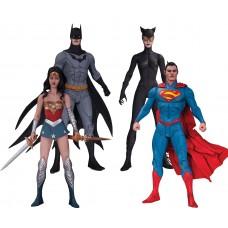 Набор фигурок Лига Справедливости: Бэтмен Супермен Чудо-Женщина Женщина-Кошка - Justice League Jae Lee DC Comics