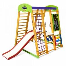 Детский спортивный Комплекс-уголок для дома и квартиры, сетка, горка, кольца, рукоход 132х124х150 см КP 3