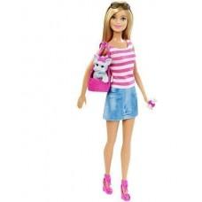 Игровой набор Кукла Барби с 2 питомцами с сумкой-переноской для животных и аксессуарами - Barbie Doll and Pets