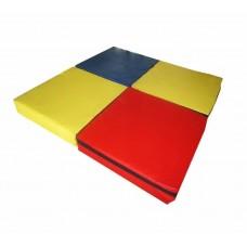 Игровой спортивный складной Мат Трансформер из 4 частей для развивающих занятий со съемным чехлом 100х100х10см