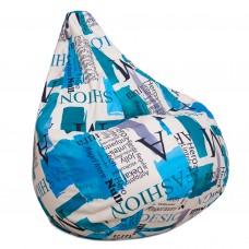 Бескаркасное Кресло-мешок Груша со съемным чехлом из велюра, ручка-петля для переноски, с принтом 90х60 см