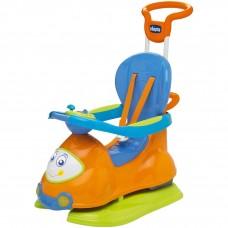 Детская Многофункциональная Машина Каталка для детей 4в1 съемные детали, звук. панель Chicco QAUTTRO оранжевая