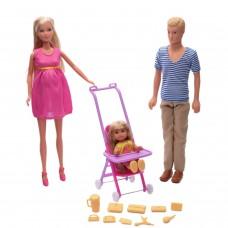 Игровой набор из 3 кукол Штеффи, Кевин, Еви с прогулочной коляской аксессуарами - Happy Family Steffi Love Simba