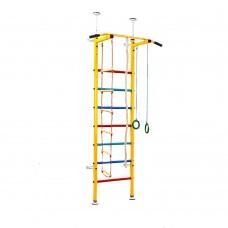 Спортивная Шведская стенка детская металлическая для дома, зала, квартиры с турником 285х66 см цветная 60327