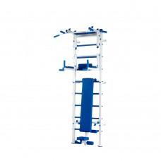 Спортивная Шведская стенка для взрослых металлическая для дома, квартиры с турником 240х66 см blue