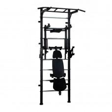 Спортивная Шведская стенка для взрослых металлическая для дома, квартиры с турником 243х80 см black 60365