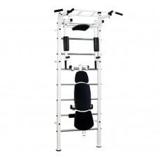 Спортивная Шведская стенка для взрослых металлическая для дома, квартиры с турником 243х80 см white 60366