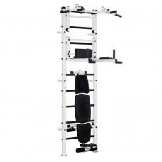 Спортивная Шведская стенка для взрослых металлическая для дома, квартиры с турником 238х66 см white RikiPro