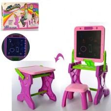 Игровой Столик для рисования 2в1: двусторонний Мольберт, стульчик, мел, губка, бумага, розовый 40х33х75см