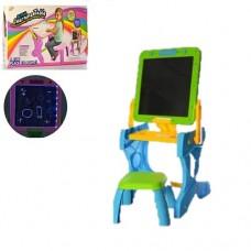 Игровой Столик для рисования 2в1: двусторонний Мольберт, стульчик, мел, губка, бумага, голубой 40х33х75см