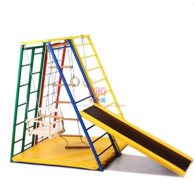 Детский спортивный Комплекс-уголок для дома и улицы: качели, горка, кольца, лестница, мат 94х124х142см 61449
