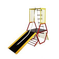 Детский спортивный Комплекс-уголок для дома и улицы: горка, канат и деревянные кольца 200х75х189(99)см 62183