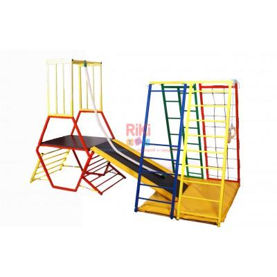 Детский спортивный двойной Комплекс-уголок для дома, улицы: горка из фанеры с мягкими бортиками, рукоход 62185 62185-12 rs-62185