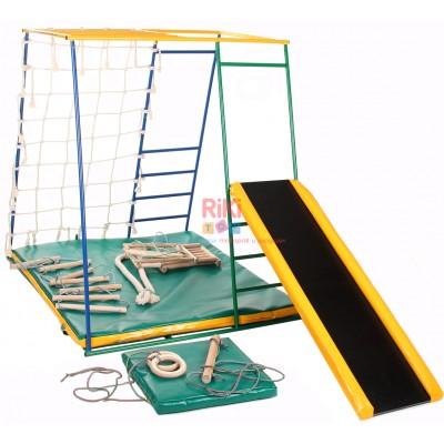 Детский спортивный Комплекс-уголок для дома и улицы: гладиаторская сетка, горка, рукоход 94х124х142см 62197