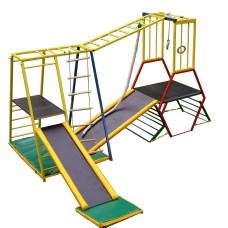 Детский спортивный двойной Комплекс-уголок для дома и улицы: рукоход, 2 горки, матросская лесенка, канат 62199