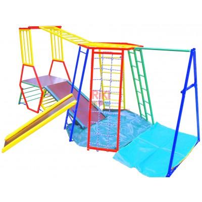 Детский спортивный двойной Комплекс-уголок с турником для дома, улицы: 2 горки, деревянные кольца, канат 62201
