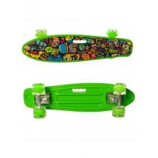 Детский Скейт Пенни борд Penny board со светящимися колесами, колеса PU, до 70 кг, ABEC-7 салатовый 59х16см