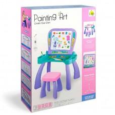 Игровой Столик для рисования 2в1: Мольберт, ячейки для хранения, стульчик, магнитные буквы и цифры, розовый
