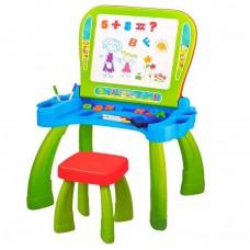 Игровой Столик для рисования 2в1: Мольберт, ячейки для хранения, стульчик, магнитные буквы и цифры, салатовый