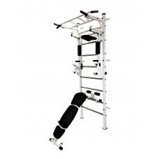 Спортивная Шведская стенка для взрослых металлическая для дома, квартиры с турником 243х80 см white 63015