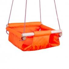 Качели Детские подвесные для детей до 50 кг из ткани и дерева дуба для дома и улицы 35,5x35,5x15 см