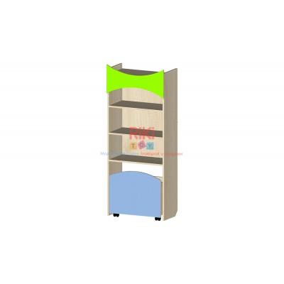 Модульный Стеллаж Витрина с открытыми полками и выкатным ящиком для хранения игрушек в детсадах 60х31х147см