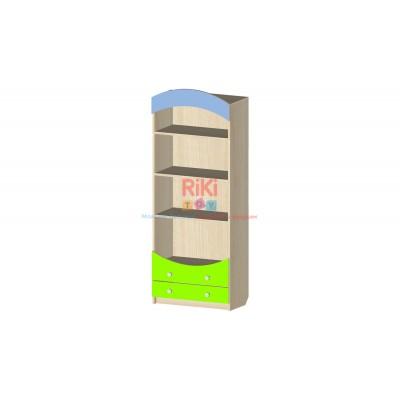 Модульный Стеллаж Витрина с 3 полками и выдвижными ящиками для хранения игрушек в детских садах 60х31х155см