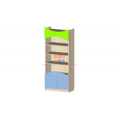 Модульный Стеллаж Витрина с полками и закрытым отделением для хранения игрушек в детских садах 60х31х147см
