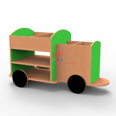 Игровой модульный Стеллаж Грузовичок с открытыми полками и верхним лотком для детских садов 105х53.2х65 см