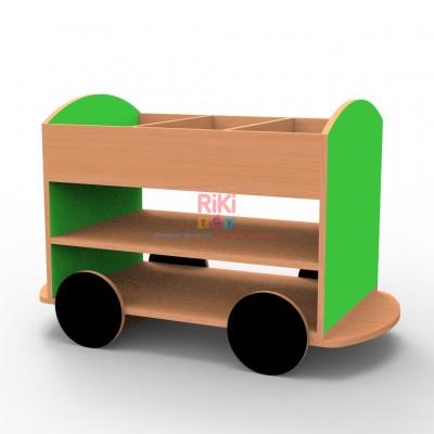 Игровой модульный Стеллаж Прицеп с открытыми полками и верхним лотком для детских садов 90.7х53.2х65 см