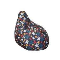 Бескаркасное Кресло-Груша для детей и взрослых с чехлом из ткани Оксфорд с ручкой 110х90 см, принт Звезды