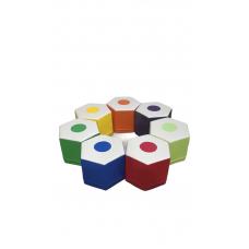 Комплект безкаркасних пуфів олівець з 7 модульних елементів для ігрових кімнат і дитсадків, пуф 40х35х30см