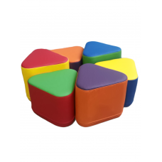 Комплект бескаркасных пуфов Спиннер из 6 модульных элементов развлекательных центров и детских садов D=90см