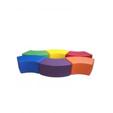 Комплект бескаркасных пуфов Змейка из 6 модульных элементов для детских садов и игровых комнат, пуф 79х41х35см
