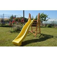 Пластиковая горка с высокими бортами и деревянной лестницей для детских уличных площадок, желтый 300х49х150 см