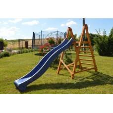 Пластиковая горка с высокими бортами и деревянной лестницей для детских уличных площадок, синий 300х49х150 см