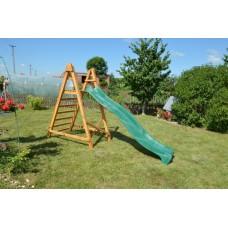 Пластиковая горка с высокими бортами и деревянной лестницей для детских уличных площадок, зеленый 300х49х150см