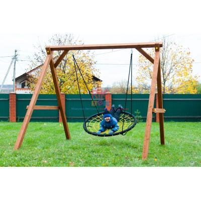 Игровой комплекс Детские Качели Гнездо Выше Всех на деревянной качельной балке для уличных площадок, до 150кг