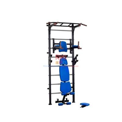 Спортивная Шведская стенка для взрослых металлическая для дома, квартиры с турником 243х80 см Blue 64879