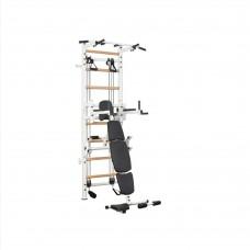 Металлическая Шведская стенка - тренажер с эспандерной системой, турником и скамьей 150х110х240см White 64960