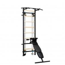 Металлическая Шведская стенка - тренажер с эспандерной системой, турником и скамьей 150х110х240см Black 64961